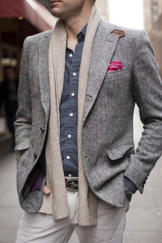 How to wear: hot pink pocket square, beige chinos, navy and white polka dot long sleeve shirt, grey herringbone wool blazer