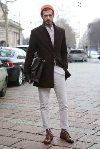 How to wear: brown leather derby shoes, white chinos, pink long sleeve shirt, dark brown wool blazer
