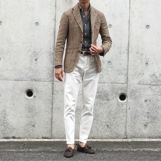 Men's Looks & Outfits: What To Wear In 2020: When the dress code calls for a refined yet cool outfit, consider teaming a brown houndstooth blazer with white chinos. Ramp up the formality of your outfit a bit by sporting dark brown leather tassel loafers.