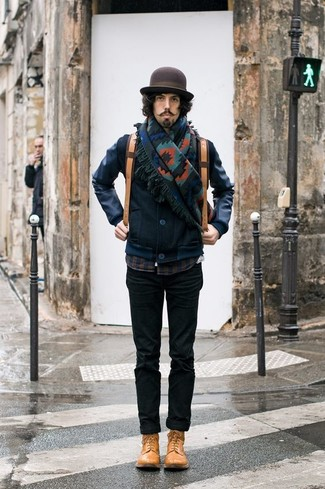 How to Wear a Dark Brown Wool Hat For Men: Make a navy leather bomber jacket and a dark brown wool hat your outfit choice to put together a seriously sharp and current modern casual ensemble. Our favorite of an infinite number of ways to round off this outfit is with tan leather casual boots.