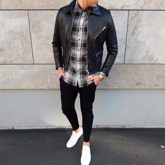 How to wear: white low top sneakers, black chinos, black and white plaid long sleeve shirt, black leather bomber jacket