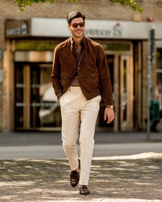 How to wear: dark brown leather loafers, white chinos, brown linen long sleeve shirt, brown suede bomber jacket