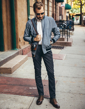 How to wear: brown leather brogues, charcoal wool chinos, white long sleeve shirt, navy bomber jacket