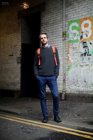 How to Wear an Orange Backpack For Men: For a casual ensemble with a twist, marry a charcoal cable sweater with an orange backpack. On the fence about how to complete this look? Rock a pair of black leather low top sneakers to bump it up a notch.