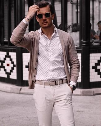 How to wear: beige woven canvas belt, beige chinos, white print long sleeve shirt, beige cardigan