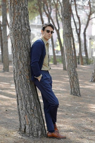 How to Wear Olive Sunglasses For Men: This relaxed casual combo of a navy cardigan and olive sunglasses is a safe option when you need to look stylish in a flash. For a more elegant twist, why not introduce a pair of tobacco leather brogues to this look?