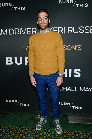 How to wear: charcoal high top sneakers, blue chinos, white and green gingham long sleeve shirt, mustard crew-neck sweater