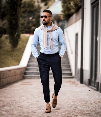 How to Wear a Beige Crew-neck Sweater For Men: This combination of a beige crew-neck sweater and navy chinos is definitive proof that a straightforward casual getup can still look really interesting. Feel uninspired with this look? Introduce a pair of brown suede tassel loafers to mix things up a bit.