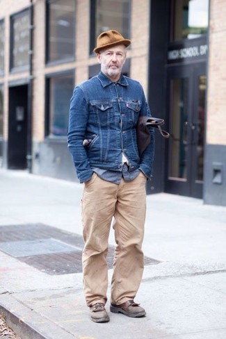 How to wear: brown leather derby shoes, beige chinos, blue seersucker long sleeve shirt, navy denim jacket