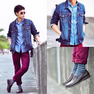 How to wear: dark brown leather driving shoes, burgundy chinos, light blue polka dot long sleeve shirt, blue denim jacket
