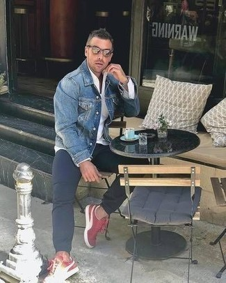 How to Wear Silver Sunglasses For Men: Teaming a blue denim jacket with silver sunglasses is an on-point idea for a relaxed casual look. Red and white canvas low top sneakers add an elegant aesthetic to the ensemble.