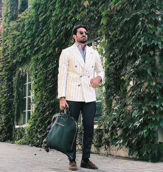 How to wear: brown suede tassel loafers, dark green chinos, light blue long sleeve shirt, beige vertical striped double breasted blazer