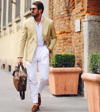 How to wear: tobacco suede tassel loafers, white chinos, white long sleeve shirt, yellow double breasted blazer
