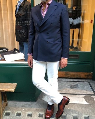 How to wear: brown leather oxford shoes, white chinos, red and white gingham long sleeve shirt, navy double breasted blazer
