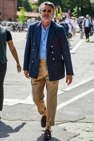 How to Wear Khaki Chinos: This pairing of a navy double breasted blazer and khaki chinos speaks masculine elegance and refined functionality. Add dark brown suede loafers to the equation to immediately rev up the classy factor of your look.