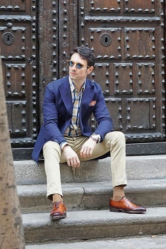 How to Wear Blue Sunglasses For Men: Definitive proof that a navy double breasted blazer and blue sunglasses look amazing when teamed together in a casual ensemble. Up this whole outfit by slipping into tobacco leather oxford shoes.