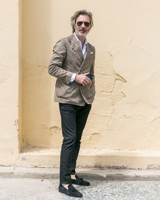 How to Wear Black Suede Tassel Loafers: This outfit with a grey double breasted blazer and charcoal chinos isn't hard to score and easy to adapt. Why not complement your ensemble with a pair of black suede tassel loafers for an added touch of style?