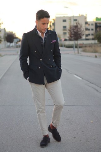 How to wear: charcoal suede double monks, white chinos, white long sleeve shirt, charcoal double breasted blazer