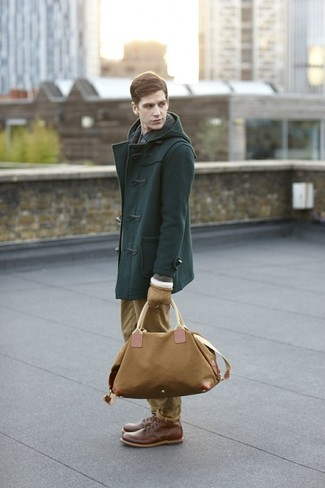How to wear: brown leather casual boots, khaki chinos, navy check long sleeve shirt, dark green duffle coat