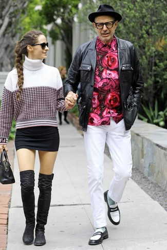 How to wear: black and white leather loafers, white chinos, hot pink floral long sleeve shirt, black leather field jacket