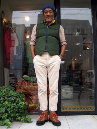 How to wear: brown suede high top sneakers, beige chinos, beige plaid long sleeve shirt, dark green quilted gilet