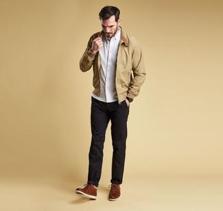 Men's Brown Leather Derby Shoes, Black Chinos, White Long Sleeve Shirt, Tan Harrington Jacket