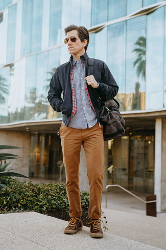 How to Wear Tobacco Leather Low Top Sneakers For Men: This pairing of a charcoal harrington jacket and tobacco chinos is a safe and very fashionable bet. Rounding off with tobacco leather low top sneakers is a simple way to infuse a more laid-back twist into your ensemble.