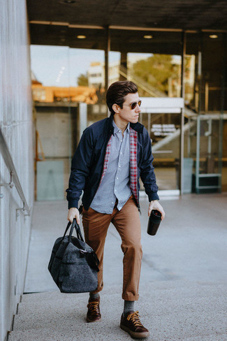 How to Wear Tobacco Leather Low Top Sneakers For Men: This combo of a navy harrington jacket and brown chinos is perfect for weekend days. Not sure how to finish? Introduce a pair of tobacco leather low top sneakers to this look to jazz things up.