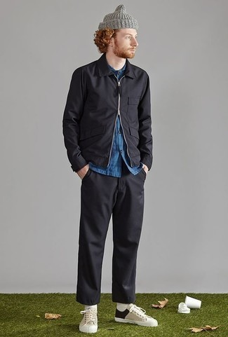 How to Wear a Black Harrington Jacket: To achieve a casual look with a fashionable spin, you can easily wear a black harrington jacket and black chinos. And if you want to easily play down this ensemble with one piece, introduce a pair of beige canvas low top sneakers to the equation.