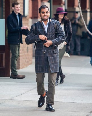 How to wear: black leather derby shoes, olive chinos, light blue vertical striped long sleeve shirt, navy plaid overcoat