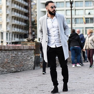 How to wear: black suede chelsea boots, black corduroy chinos, white long sleeve shirt, grey overcoat