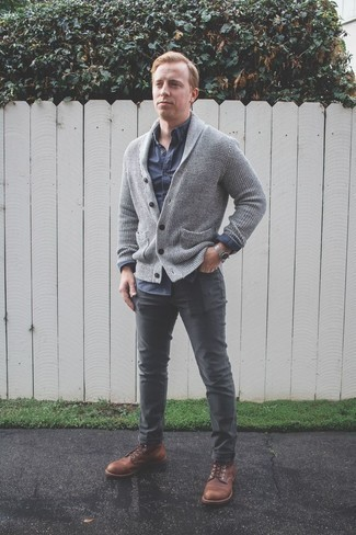 How to Wear a Silver Watch For Men: Consider wearing a grey shawl cardigan and a silver watch for head-to-toe comfort dressing. Go off the beaten track and jazz up your ensemble by rocking a pair of brown leather casual boots.