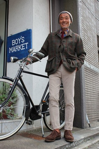 How to wear: dark brown suede derby shoes, beige chinos, blue plaid long sleeve shirt, olive check flannel shirt jacket