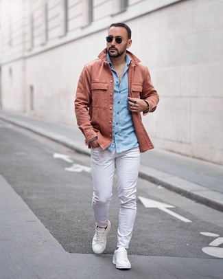 How to wear: white leather low top sneakers, white chinos, light blue chambray long sleeve shirt, pink shirt jacket