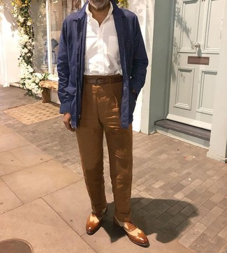 How to wear: brown leather brogues, brown linen chinos, white long sleeve shirt, navy linen shirt jacket
