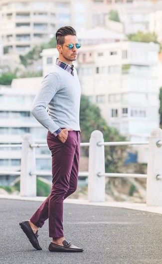 How to wear: dark brown leather loafers, purple chinos, white and red and navy plaid long sleeve shirt, grey v-neck sweater