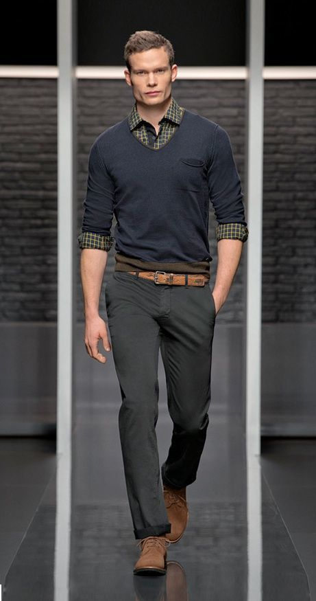 How To Wear Grey Chinos With A Navy V Neck Sweater 4 Looks