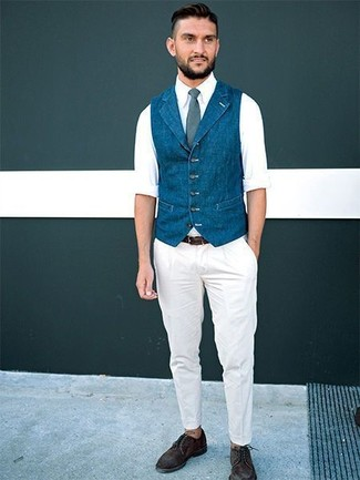 How to wear: dark brown suede derby shoes, white chinos, white long sleeve shirt, blue denim waistcoat
