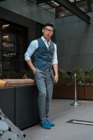 How to Wear Light Blue Suede Loafers For Men: Putting together a navy waistcoat with grey check chinos is an on-point pick for a classic and classy getup. Light blue suede loafers are guaranteed to breathe an added dose of elegance into this look.