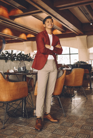 How to wear: brown leather derby shoes, beige wool chinos, white long sleeve t-shirt, red wool blazer