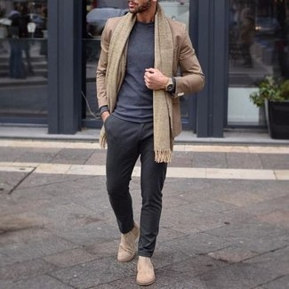 How to Wear Beige Suede Chelsea Boots For Men: This pairing of a tan blazer and charcoal chinos is a winning option when you need to look dapper but have no time to dress up. Wondering how to complete this getup? Finish off with beige suede chelsea boots to boost the classy factor.