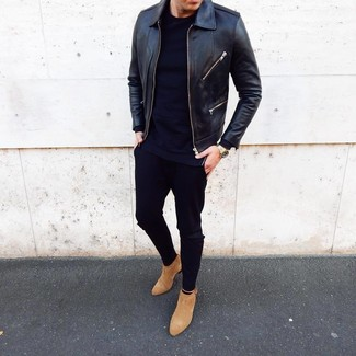How to Wear Tan Suede Chelsea Boots For Men: Team a black leather bomber jacket with black chinos for a cool and relaxed and fashionable ensemble. Finishing with a pair of tan suede chelsea boots is a surefire way to give an added dose of polish to your ensemble.