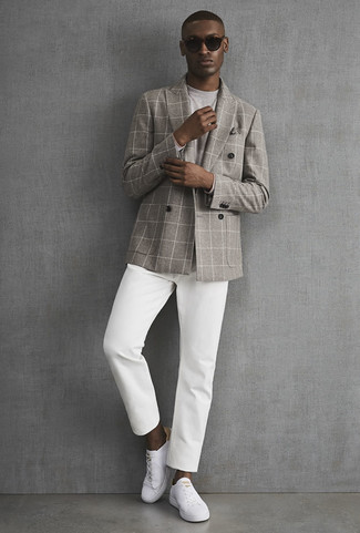 How to wear: white leather low top sneakers, white chinos, grey long sleeve t-shirt, grey check double breasted blazer