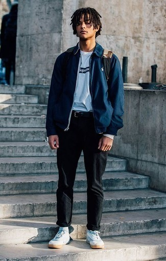 How to Wear a Navy Harrington Jacket: The go-to for casual style? A navy harrington jacket with black chinos. Dress down your outfit by rounding off with white canvas low top sneakers.