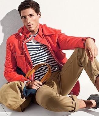 How to wear: black suede derby shoes, khaki chinos, white and navy horizontal striped long sleeve t-shirt, red raincoat