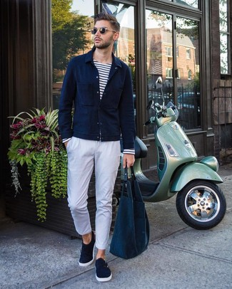 How to wear: navy suede double monks, white chinos, white and navy horizontal striped long sleeve t-shirt, navy shirt jacket