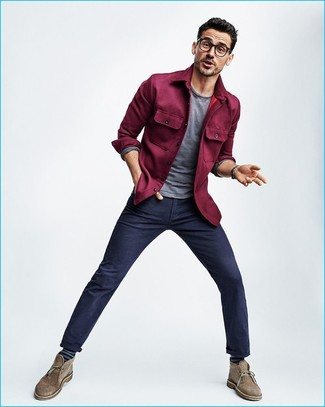 How to wear: brown suede desert boots, navy chinos, grey long sleeve t-shirt, purple shirt jacket