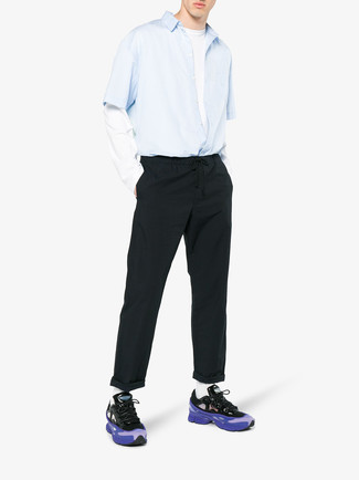 How to wear: violet athletic shoes, black chinos, white long sleeve t-shirt, light blue short sleeve shirt