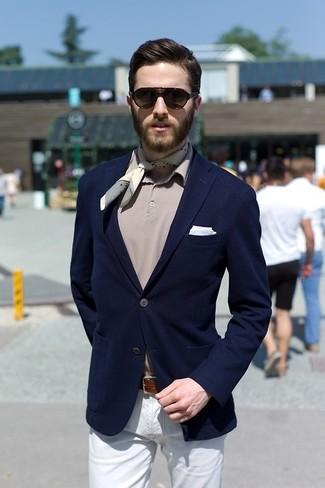 How to wear: light blue pocket square, white chinos, grey polo, navy blazer