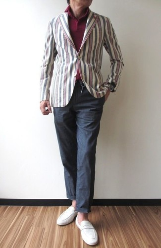How to wear: white suede loafers, charcoal chinos, burgundy polo, multi colored vertical striped cotton blazer